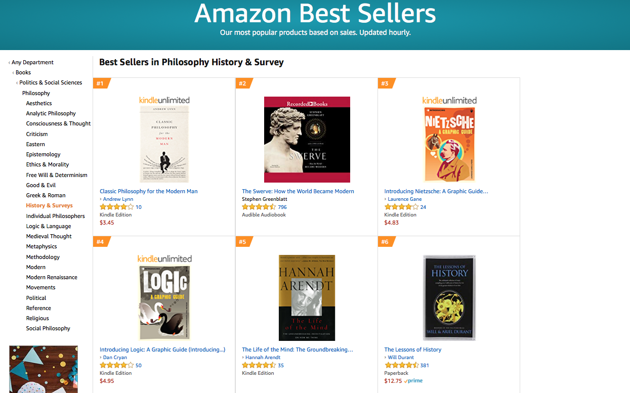 Classic Philosophy Hits No  1 Spot in Amazon Bestseller